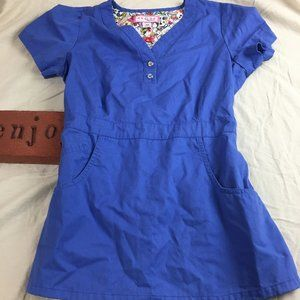 Koi Women's Scrub Top Blue Pockets V-neck Gathered